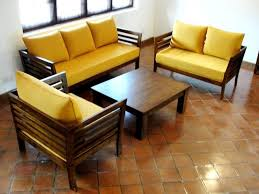 contemporary wood sofa. Contemporary Living Room Design With Wooden Sofa Set Yellow Wood