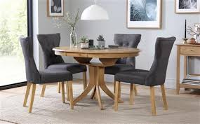 hudson round extending dining table 6 chairs set bewley slate