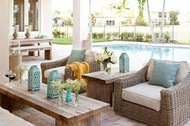 pool patio decorating ideas. Stylish Options Of Wicker Patio Furniture Amazing Swimming Pool With Rustic Wooden Coffee Table And Decorating Ideas