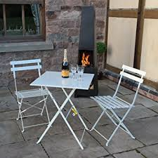 white metal outdoor furniture. White 3 Piece Folding Metal Outdoor Patio Bistro Set Garden Furniture
