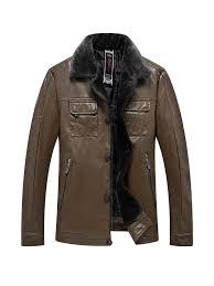 ericdress plain lapel fur collar mens casual leather jacket 13675869