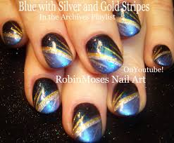 These Blue Nails With Silver & Gold Stripes Are A Super Fun Nail ...