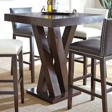 dark wood round counter height kitchen table and 4 find bar dining chairs chic high
