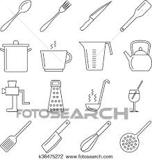 kitchen utensils vector. Clipart - Cooking And Kitchen Tools Line Vector Icons. Fotosearch Search  Clip Art, Utensils G