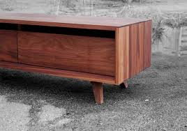mid century modern media console with electric fireplace