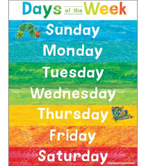 Interactive Charts For Preschool World Of Eric Carle Days Of The Week Chart Grade Pk 2