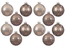 Zeitzone Christbaumkugeln Schnörkel Taupe Echt Glas 12 Stück