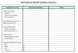 Itinerary Sheet Affordable Disney Vacation Planning Worksheets The
