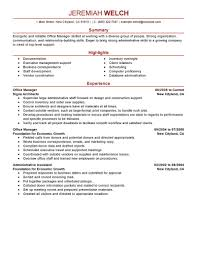 Office Manager Resume Template 81 Images Sample Manager Resume