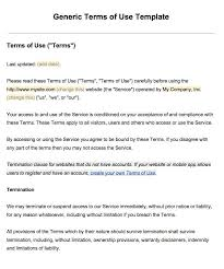 sample terms of use template termsfeed example of terms of use screenshot