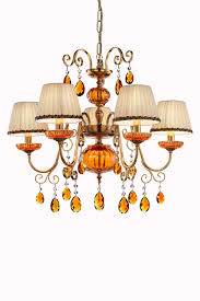 5 light orange crystal and antique gold plated metal chandelier masiero