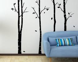 birch tree wall decal set of 4 trees