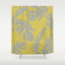 retro shower curtain. Palm Leaves Retro Gray On Mod Yellow Shower Curtain