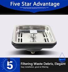 Talea Stainless Steel Square Sink Strainer Plug Kitchen Sink Drain