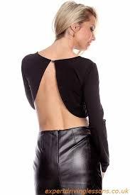 black 2 piece long sleeve crop faux leather pencil skirt dress
