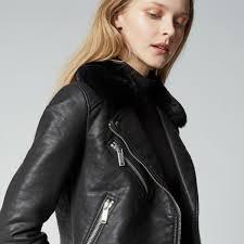 warehouse faux fur collar biker black 4