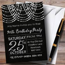 90 Birthday Party Invitations Silver Draped Garland 90th Customised Birthday Party Invitations