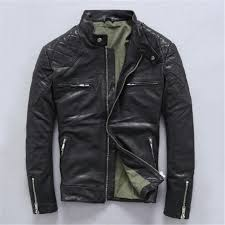 2019 2019 men brown slim fit leather motorcycle jacket genuine high quality sheepskin winter short leather biker coat from qutecloth 312 07 dhgate com