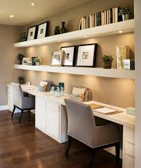 Contrast your white built in desk with dark wooden floors while connecting  the two with beige