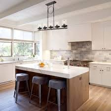 pendants lighting. Dennis Retro Kitchen Linear Island Pendant Lighting, Clear Glass Shade, Black Finish Pendants Lighting G