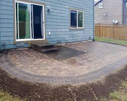 paver patio extension features western interlock slimline columbia pavers with a double border