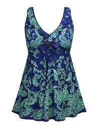 Details About Nonwe New Blue Womens Size 58 Plus Paisley Print Two Piece Swimwear 58 828