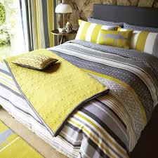 set yellow grey lace stripe pillowcase lace stripe bedding