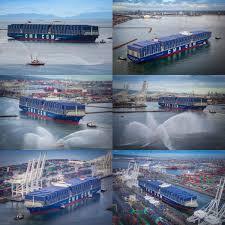 spotd megaship cma cgm benjamin franklin returns to u s gcaptain french containership port of long beach california
