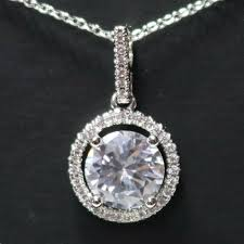 details about aaa cubic zirconia pendant necklace 14k white gold plated nickel free gift 18