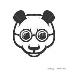 Cute Panda Face With Glasses Icon Logo Vectorのイラスト素材