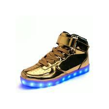 Light Up Roshes Unisex High Tops Light Up Shoes Metallic Gold