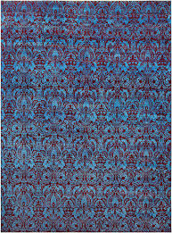 damask pattern blue red handknotted rug