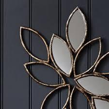 Metal Wall Decor Leaf And Mirror Design
