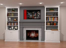 Fireplace Built Ins Two Tone Built In Fireplace Surround Features Gray Mantle And
