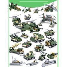 Bộ lắp ráp 16 trong1 xe quân đội đồ chơi lắp ráp xếp hình lego