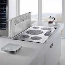 built in stove. Concrete Kitchen Island With A Minimal Cook Top Built In Stove