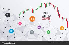 Cryptocurrency Collapse Candlestick Chart Stock Vector
