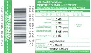 USPS Certified Mail Slip