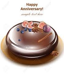 Happy Anniversary Cake Vector Sweet Birthday Dessert Mirror