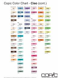 Copic Chart Printable Copic Ciao Double Ended Marker Pens Colour Chart
