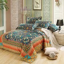 blue and orange modern plaid and bohemian chain print 100 egyptian cotton full queen bohemian bedding setsbohemian