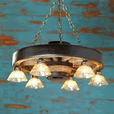 small wagon wheel chandelier with downlights zoom