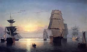 boston harbor at sunset 1850 1855 fitz hugh lane oil painting