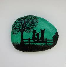 cats magnet cats painting on stone stone art painted pebble cats art