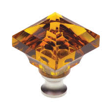 Crystal Cabinet Knob Cal Crystal M995 Amber Square Amber Crystal Cabinet Knob