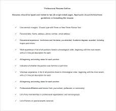 Resume Outline Templates Sample One Page Resume Outline Templates ...