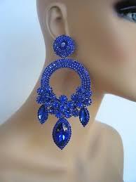 huge clip on blue chandelier rhinestone earrings pageant stage set drag queen