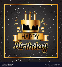 Black Happy Birthday Happy Birthday Cake Golden Square Frame Black Back