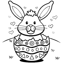 Small Picture Easter Bunny with Hearts in a Broken Egg Shell Colouring Page