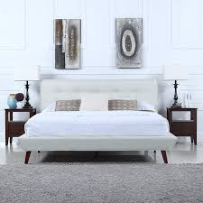 Amazon.com: Mid-Century Ivory Linen Low Profile Platform Bed Frame with  Tufted Headboard Design (Full): Kitchen & Dining